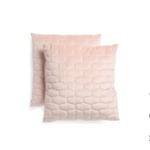 Tabitha Webb Blush Quilted Velvet Pillows NWOT
